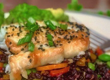 Miso-Glazed Cod with Forbidden Rice and Stir-Fried Vegetables